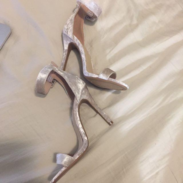 Champagne Velvet Heels