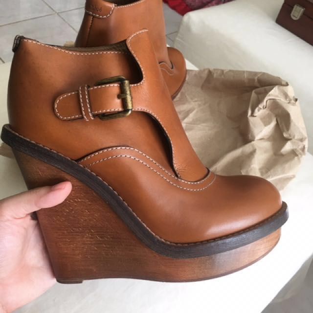 Chloé Leather Platform Ankle Boots