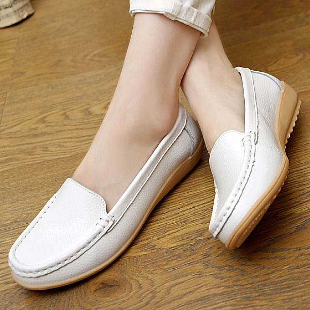 Comfy white loafers
