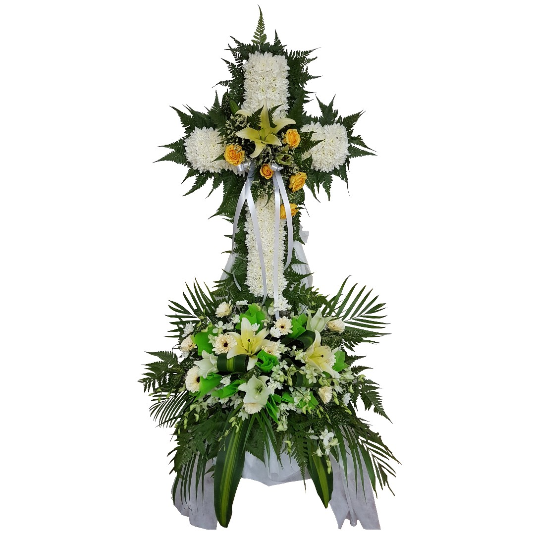 Condolences cross floral wreath funeral flowers gardening on photo photo photo izmirmasajfo