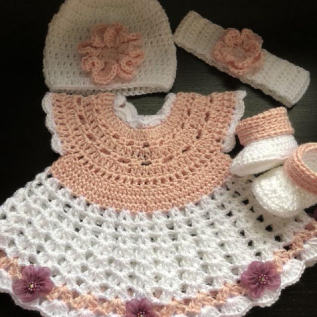 Crochet Newborn Dress Set Babies Kids Girls Apparel On Carousell