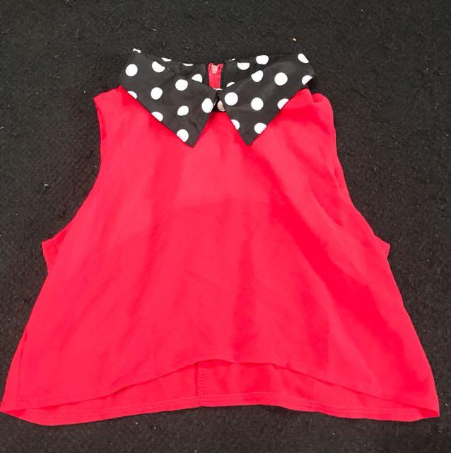 Cute red croptop collar polkadot