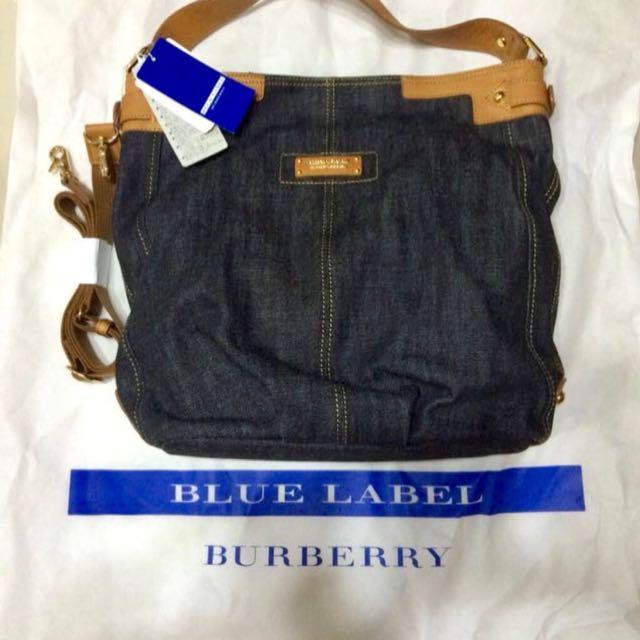 8441255db1 Discontinued Blue Label Burberry Denim Tote Sling Bag