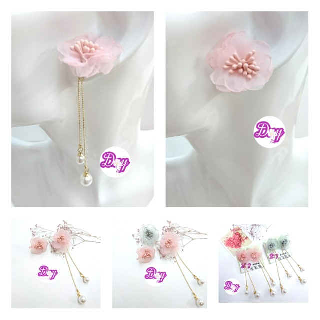 "DY2104 ""Beau-tude"" Puffy Flower Pearly Earrings"