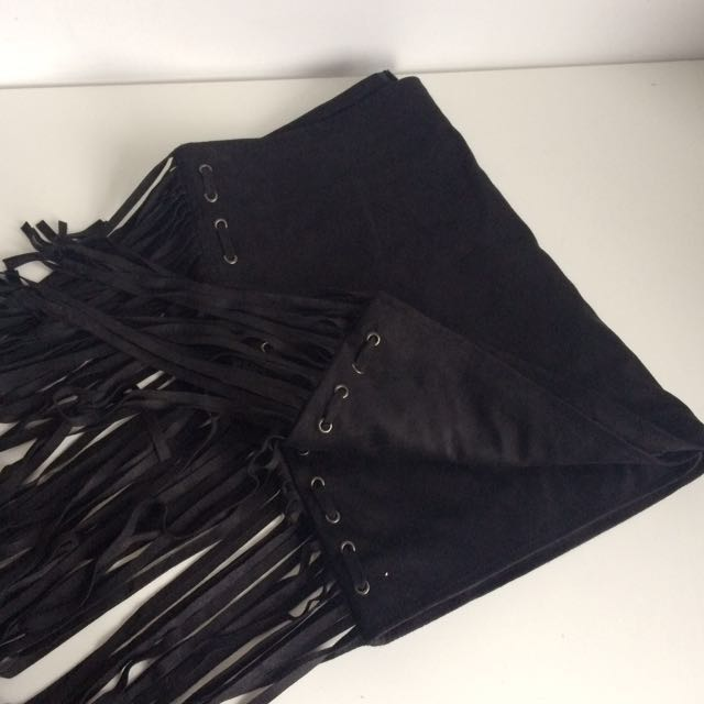 "F21 faux suede fringe a-line skirt 32"" waist"