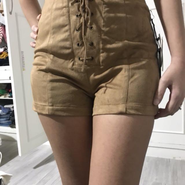 F21 Velvet high waist short