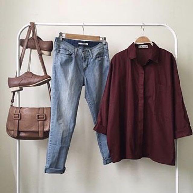 FREE ONGKIR Yankee Closet Cove Maroon Shirt