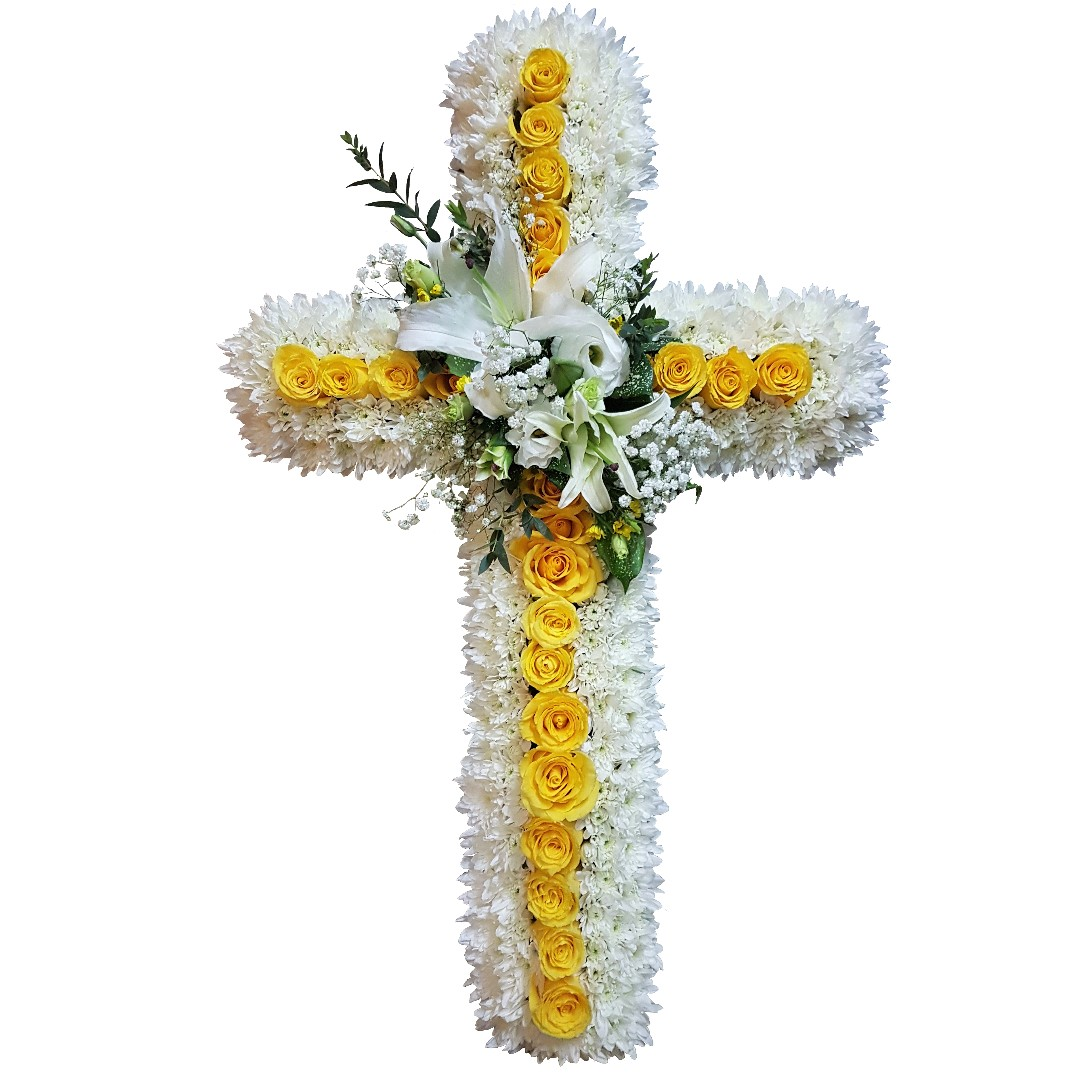 Grace cross floral wreath wo stand funeral flowers gardening on photo photo photo izmirmasajfo