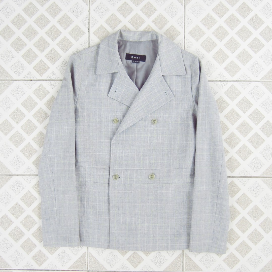 Gray Double-Breasted Checkered Blazer