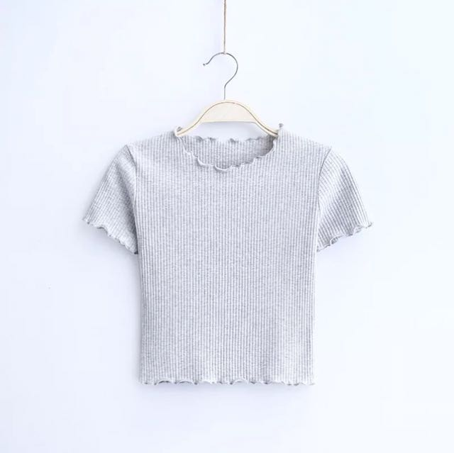 Grey Ribbed Crop Top Brand New
