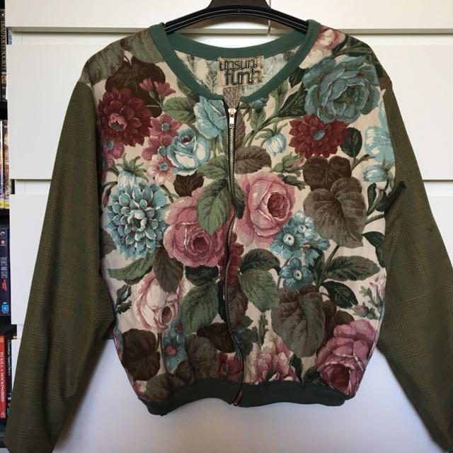 Handmade contrast fabric bomber jacket
