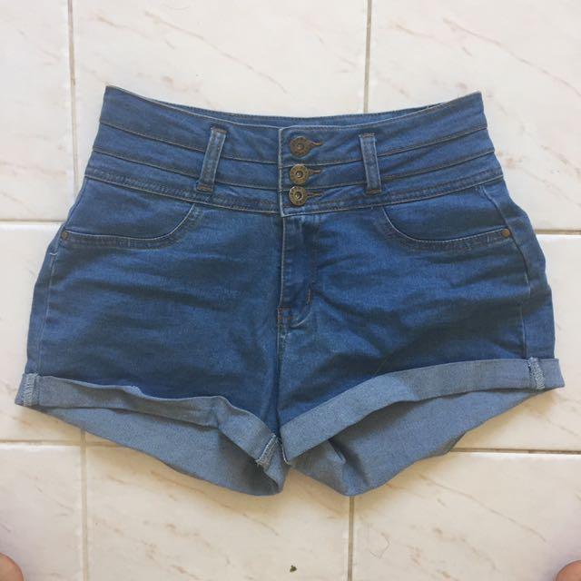 High waisted denim shorts