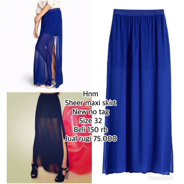HnM sheer maxi skirt on blue