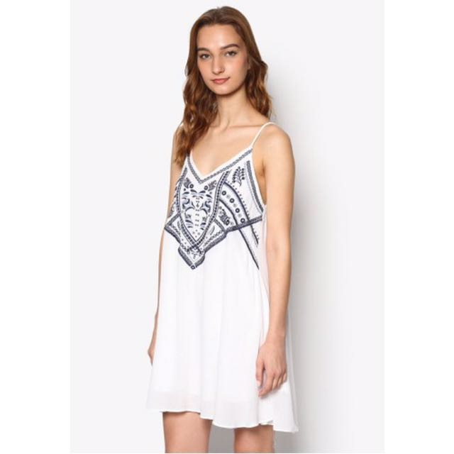 6bc4a71406 INSTOCKS  ZALORA LOVE EMBROIDERED CAMI DRESS IN OFF WHITE