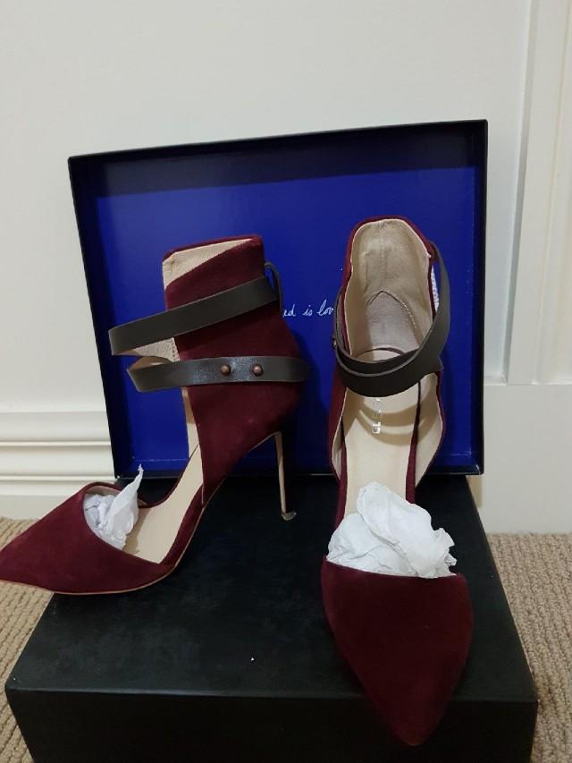 Joe's red velvet heels