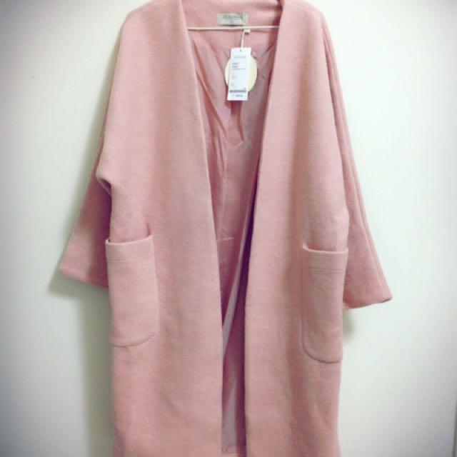 全新轉賣lovfee嫩粉色長版大衣外套