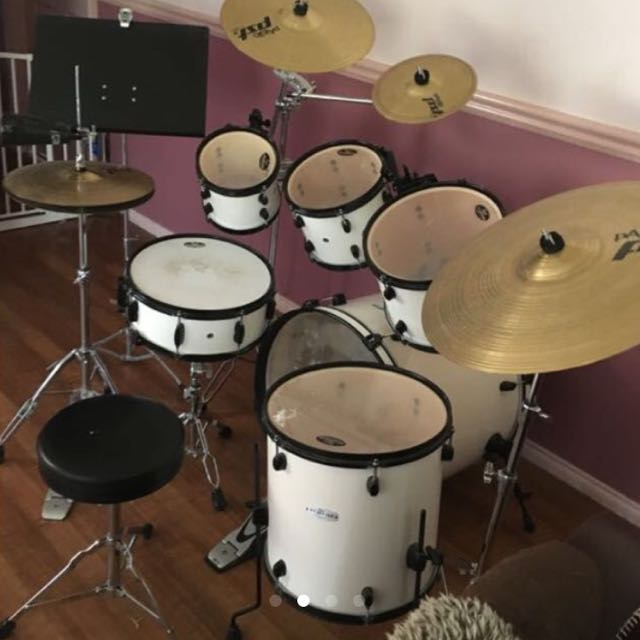LOWERED PRICE Pearl 6 Piece Drum Kit With 4 Symbols Cowbell Music Media Instruments On Carousell