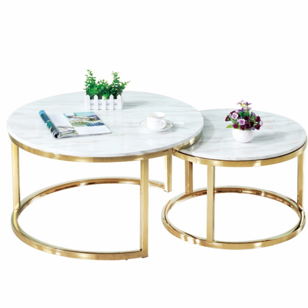 Marble And Gold Coffee Table Set Furniture Tables Chairs On Carousell