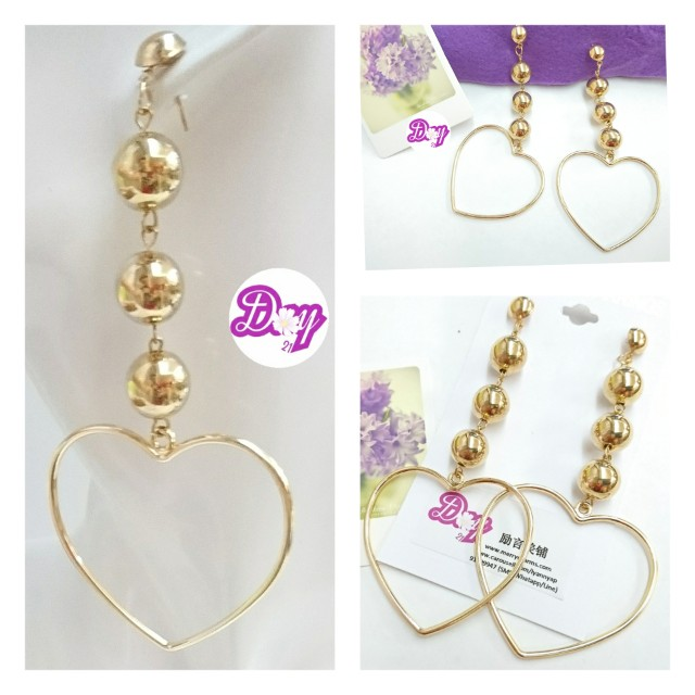 """[MerryCharms.com/Day 21]DY2111""""Big Heart"""" Earrings"""