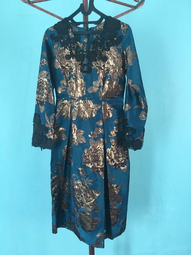 Midi Dress Tosca gold/ dress pesta busui