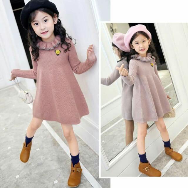 NR120203冬季女童甜美針織衣裙