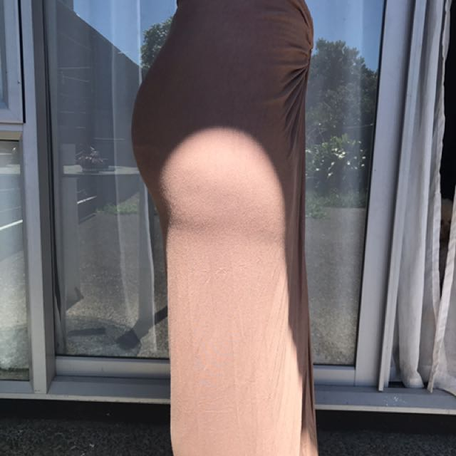 Nude Brown maxi skirt