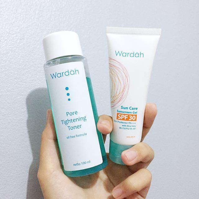 Original paket wardah sunscreen + toner