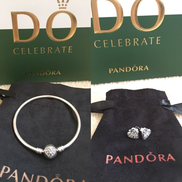 Pandora bangle bracelet and earrings set