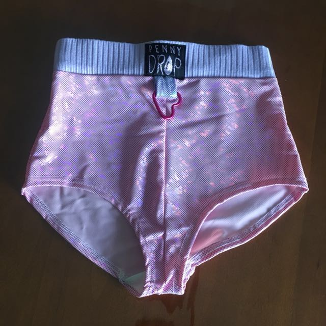 Penny Drop Pink Holographic High Waisted Hot Pants