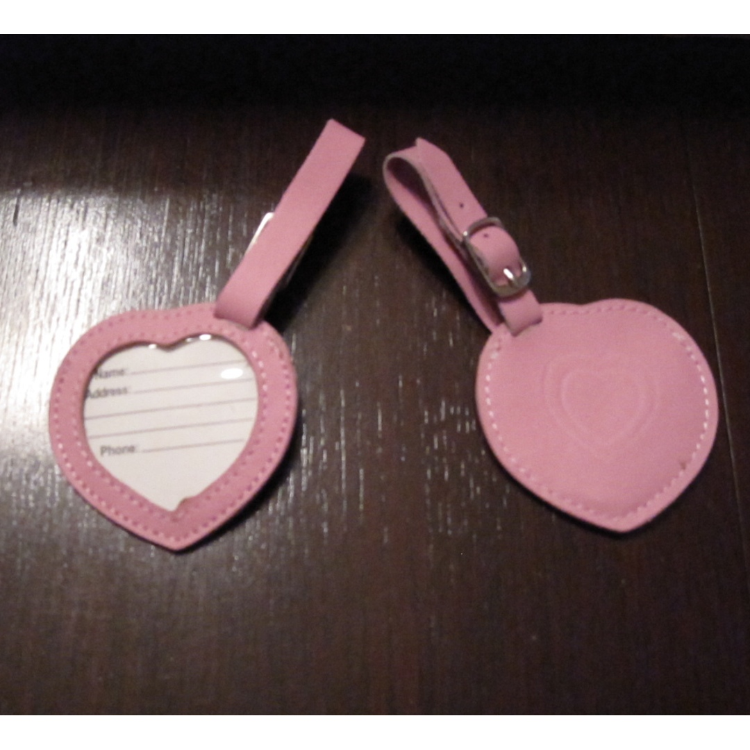 Pink Heart Leather Luggage ID Name Tags (Baby / Bridal Shower,  Weddings, Girl Birthday Party Favor)
