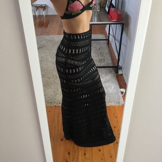 PIPER LANE Black Lace Skirt - Very Lover the Label 6-8