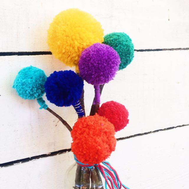 Rainbow pom pom Bouquet