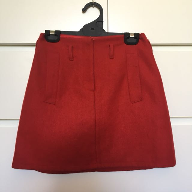 Red woollen style skirt