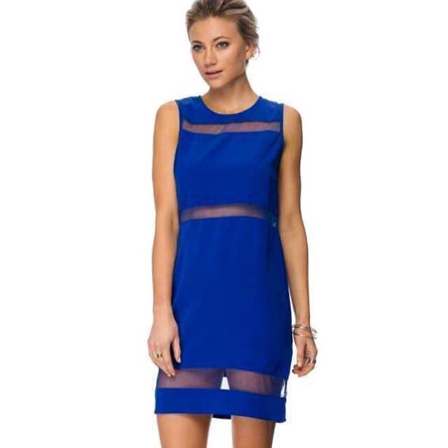 🚩RM 25🚩[Zalora] Mesh Panel Dress In Electric Blue.