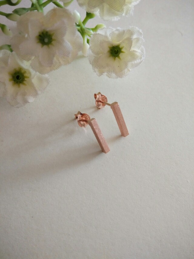 03c357b4fa5d7 Rose Gold Vermeil Style Rectangle Stick Stud Earrings. Matte Finish. For  Her. Gift Idea.