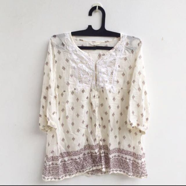 SALE! PRELOVED Cream Printed Blouse