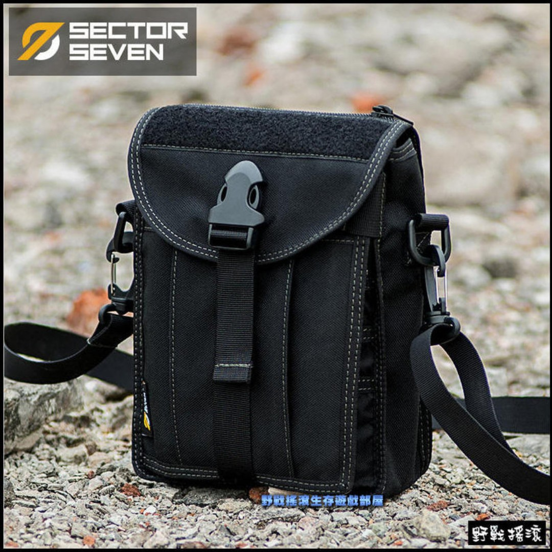 SECTOR SEVEN 刺蝟戰術側背包、斜跨包【黑色】迷彩腰包斜背包錢包工具包勤務包登山包單肩包