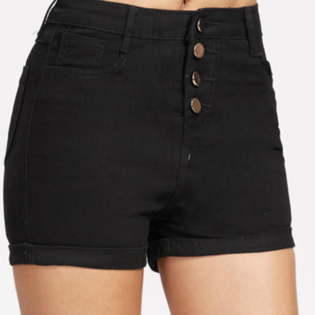 Single Breasted Cuffed Denim Shorts