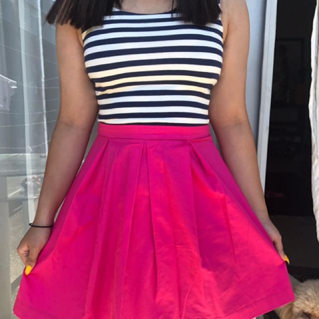 Striped pink flowy dress