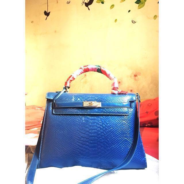 Tas Hermes Croco Blue