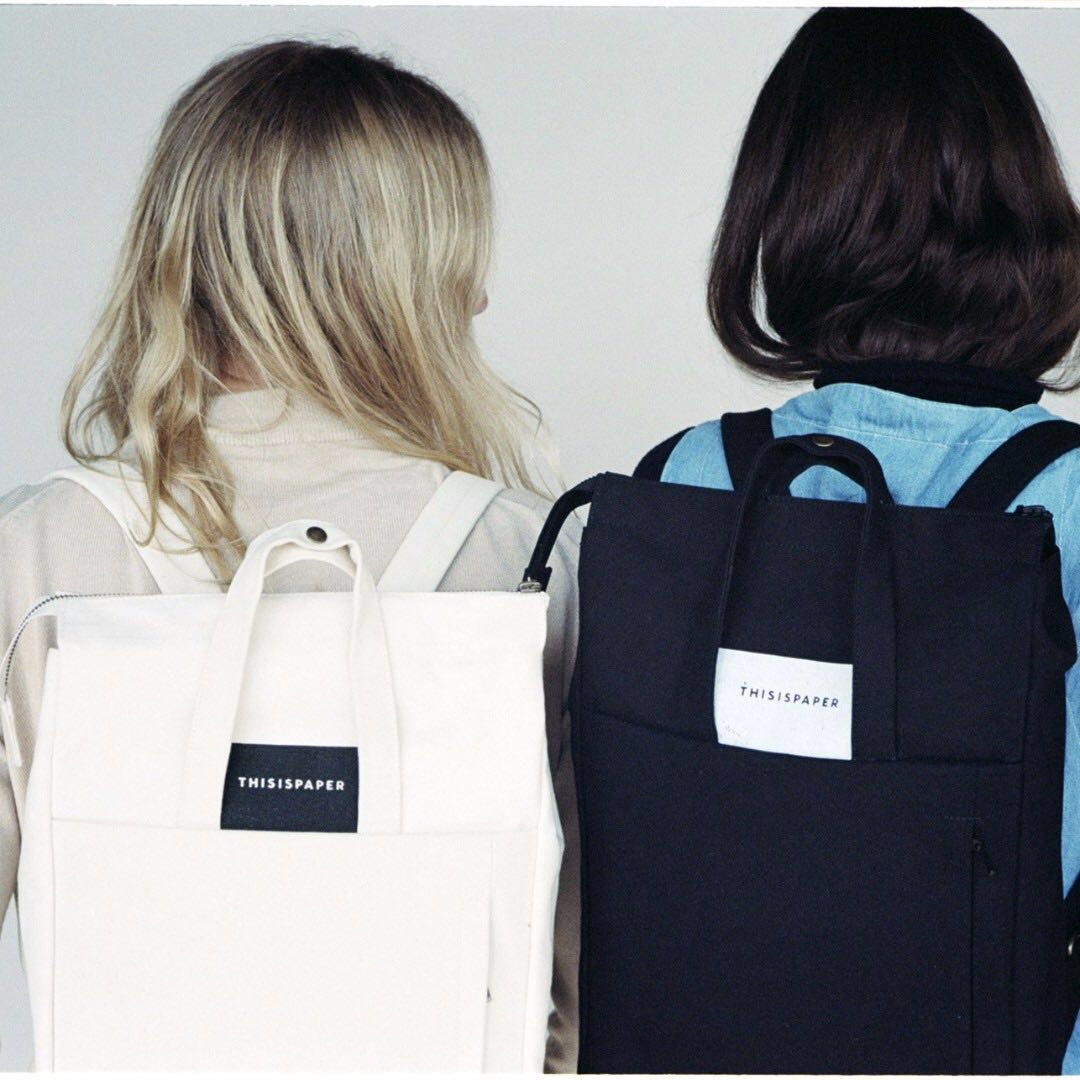 THIS IS PAPER Regulars Handle Backpack in Off White