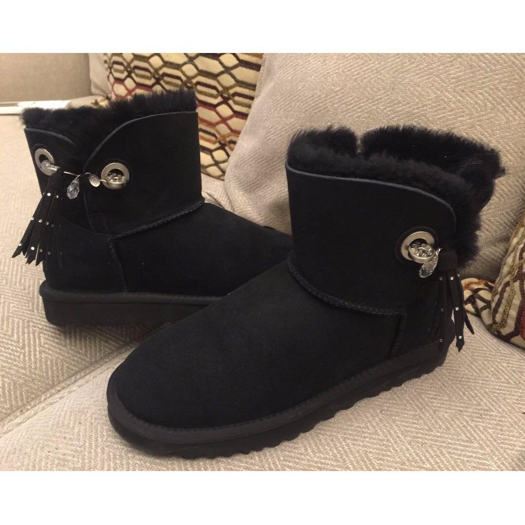 UGG黑色水鑽流蘇靴