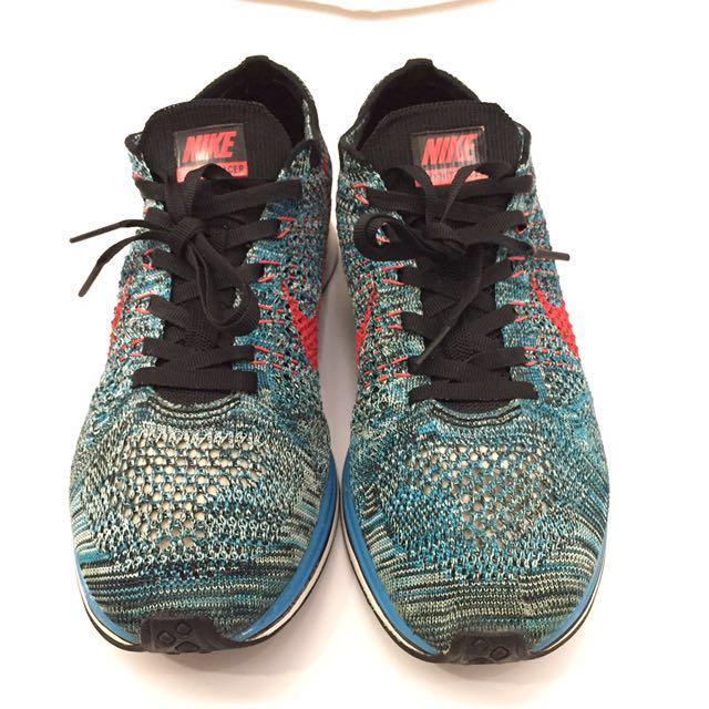 US7.5 Nike Flyknit Racer Neo Turquoise