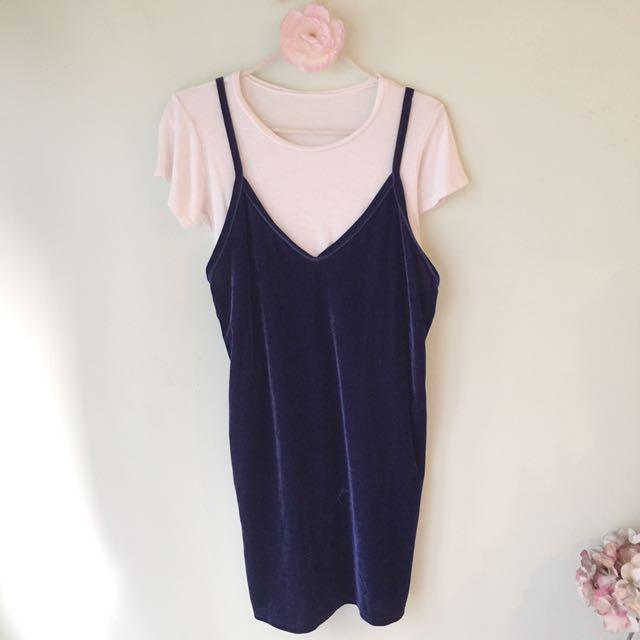 Velvet shift dress with inner shirt