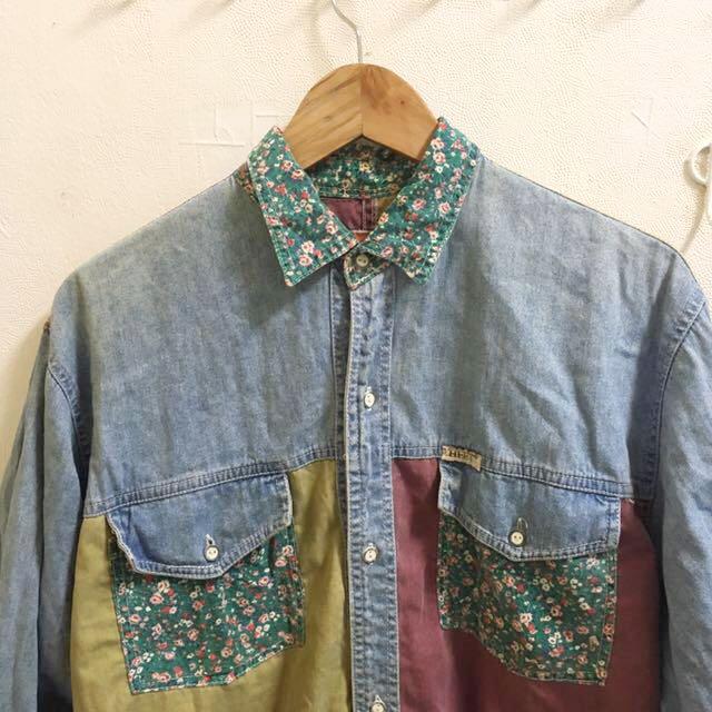 Vintage復古撞色牛仔花襯衫