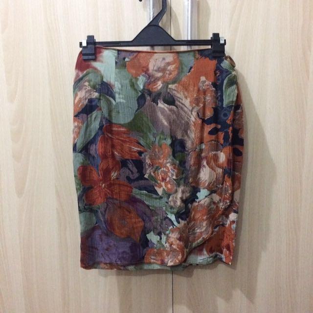 Vintage Rust Floral Wrap Around Skirt