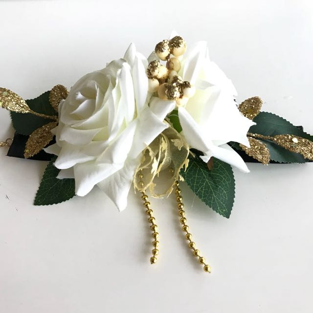 White Flower Corsage Womens Fashion Jewellery On Carousell