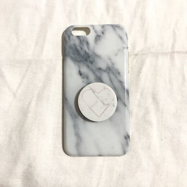 buy popular bdb91 2e251 White Marble Case with Popsocket iPhone 6/6s on Carousell