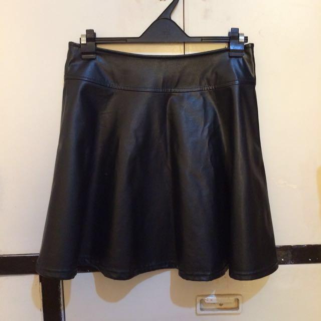 YRYS Black Leather Skirt