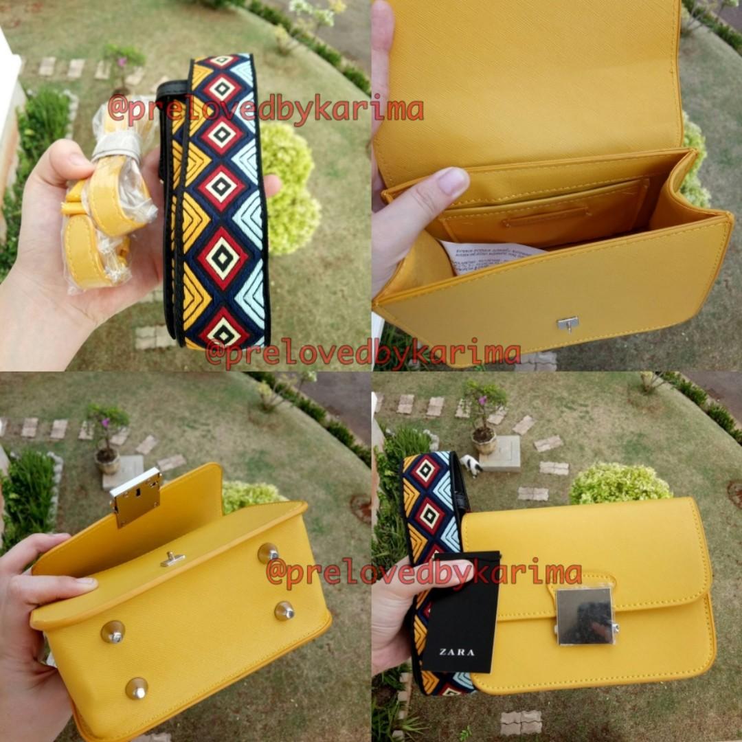 ZARA cross body yellow bag with multicolored strap / ZARA KUNING